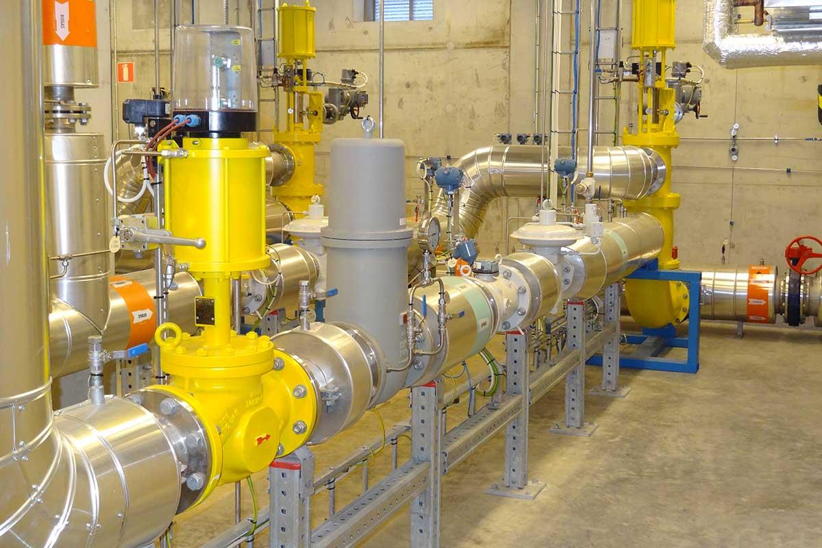 Sicht in eine Biogas-Mischanlage mit Schnellschlussventil