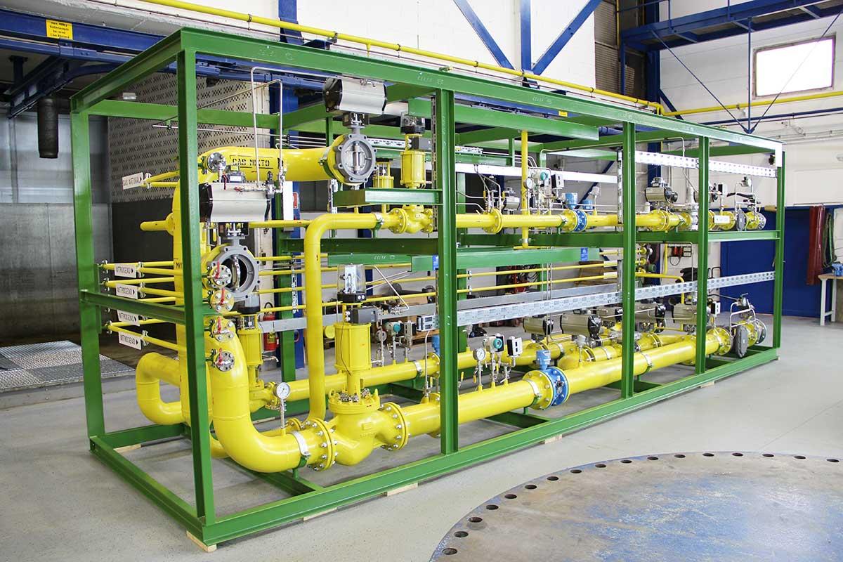 Gas-Mischstation in gelb mit grünem Rahmen